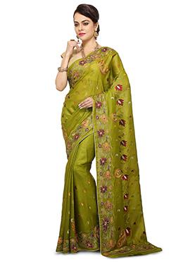 Green Pure Benarasi Silk Saree