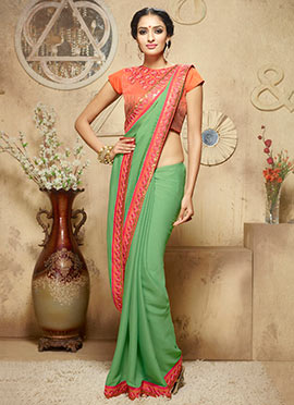 Green Rayon Border Saree