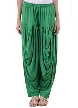 Green Rayon Dhoti Pant