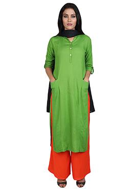 Green Rayon Palazzo Suit