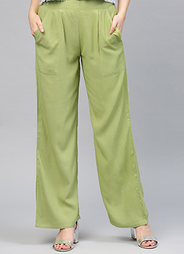 Green Regular Fit Palazzo Pant