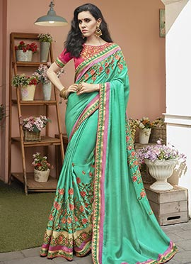 Green Satin Blend Saree