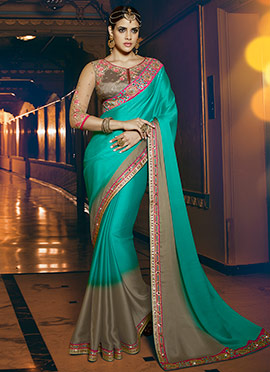 Green Satin Chiffon Saree
