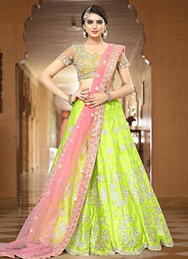 Green Satin Silk A Line Lehenga