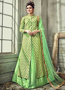 Green Satin Silk Long Choli Lehenga