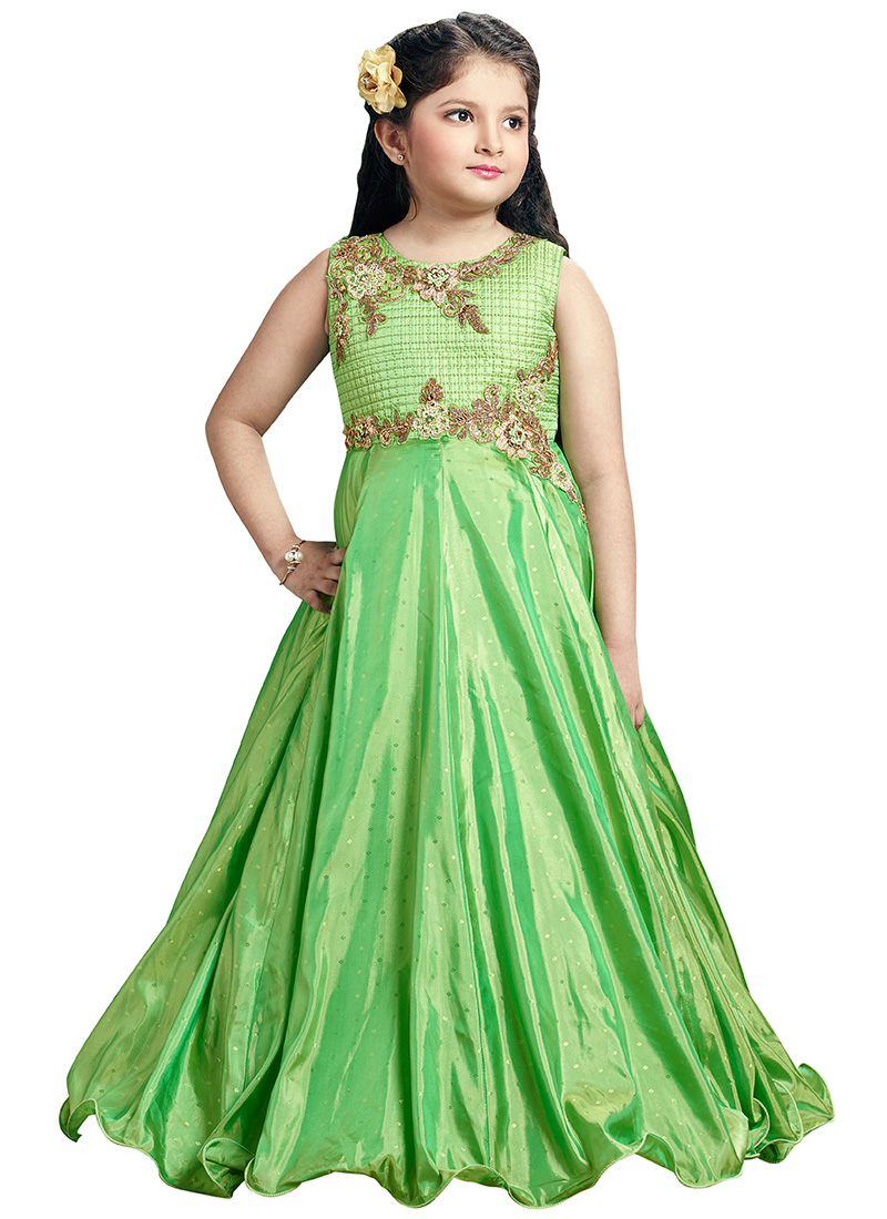 a3852fb0cc95c Buy Green Sequins Embroidered Kids Gown, Sequins , Embroidered ...