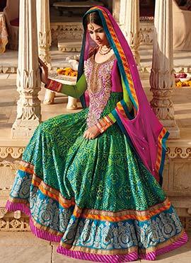Green Shade Heavy Anarkali Suit