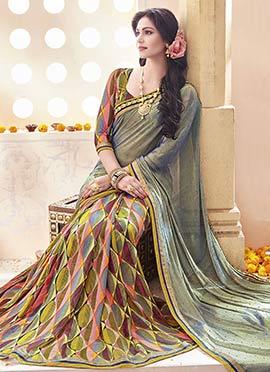 Green Shade N Multicolored Half N Half Saree