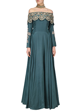 Dark Slate Blue Off Shoulder Anarkali Gown