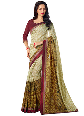 Green Shade Printed Saree