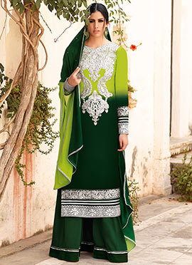 Green Shaded Palazzo Suit