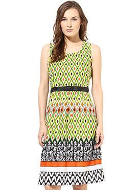 Green Shakumbhari Printed Midi Dress