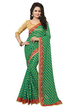 Green Shimmer Georgette Saree