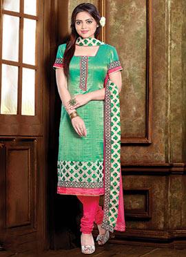 Green Silk Blend Churidar Suit