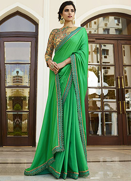 Green Silk Border Saree