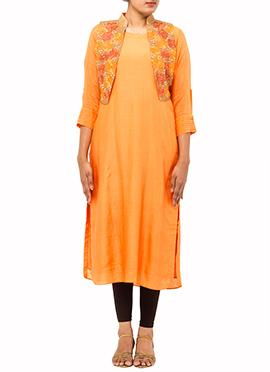 Orange Soft Silk Kurti