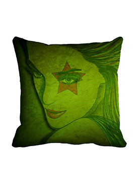 Green Star Eye Polyester Cushion Cover