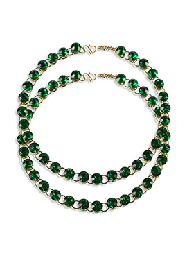 Green Stone Studded Anklets