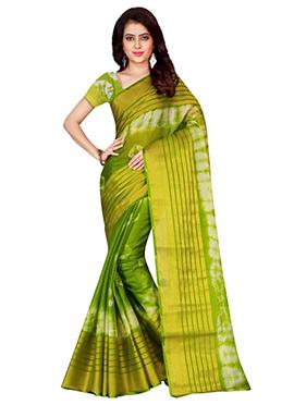 Green Supernet Cotton Saree