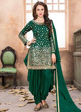 Green Taffeta Salwar Suit