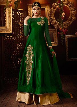 Green Taffeta Silk Long Choli Lehenga