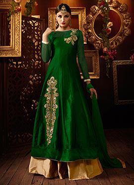 Green Taffeta Silk Umbrella Lehenga