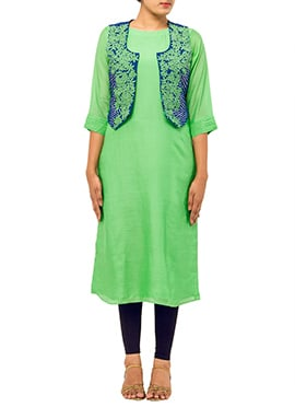 Green Tikki Work Jacket Kurti