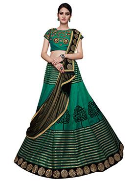 Green Tussar Silk A Line Lehenga