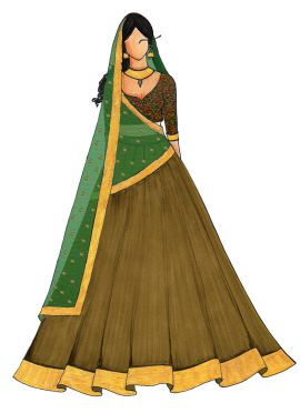 Green Umbrella Lehenga