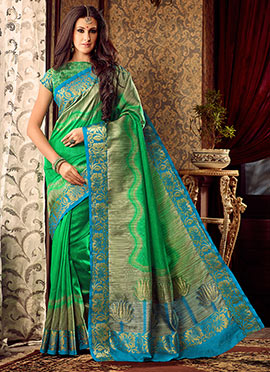 Green Uppada Art Silk Saree