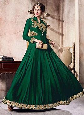 Green Velvet Anarkali Suit