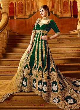 Green Velvet Trial Style Gown