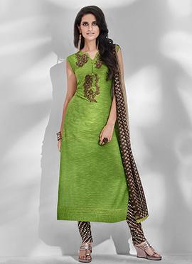 Green Viscose Churidar Suit