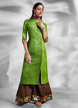 Green Viscose Palazzo Suit