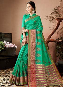 Green Zari Woven Saree
