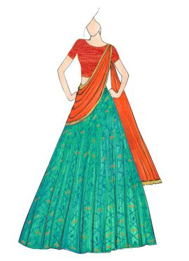 Greenish Blue and Orange Patola Lehenga Saree