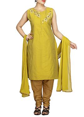 Greenish Yellow Pure Silk Cotton Churidar Suit