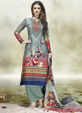 Grey Abstract Printed Palazzo Suit