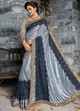 Grey and Blue Shimmer Saree