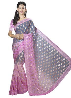 Grey and Pink Chiffon Saree