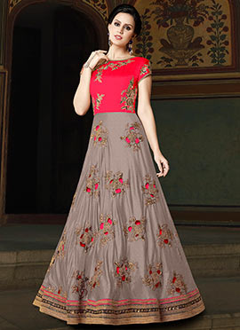 Grey and red Embroidered Abaya Style Anarkali Suit