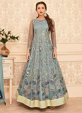 Grey Ankle Length Anarkali suit