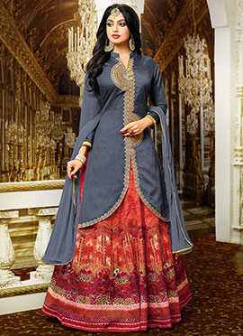 Grey Art Benarasi Silk Long Choli Lehenga