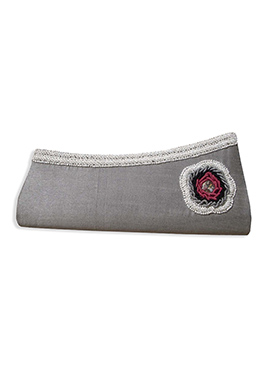 Grey Art Dupion Silk Clutch