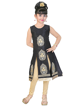 Black Art Dupion Silk Kids Salwar Kameez