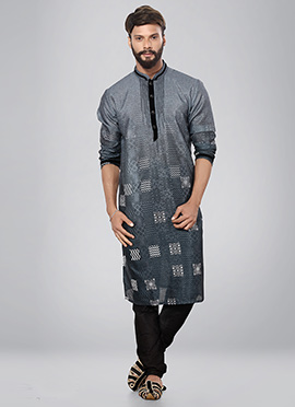 Grey Art Dupion Silk Kurta Pyjama