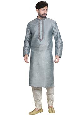 Grey Art Dupion Silk Kurta Pyjama