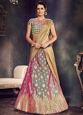 Grey Art Silk A Line Lehenga