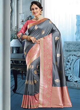 Grey Art Silk Benarasi Saree