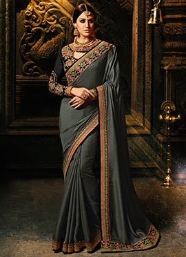 Grey Art Silk Border Saree